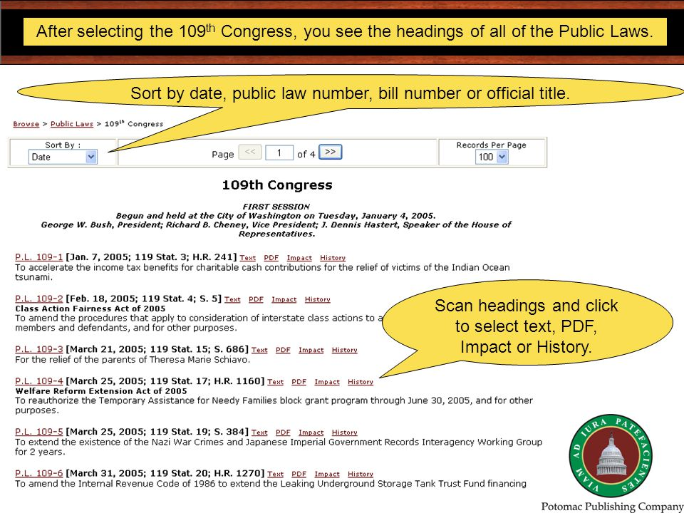 After selecting the 109 th Congress, you see the headings of all of the Public Laws.