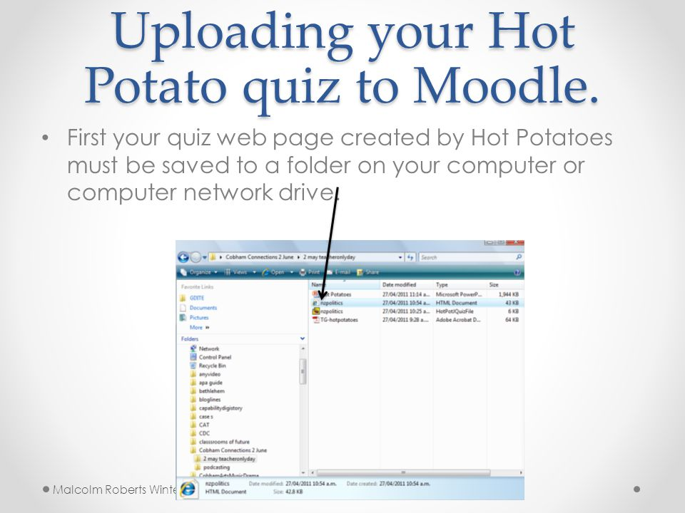 Uploading your Hot Potato quiz to Moodle.