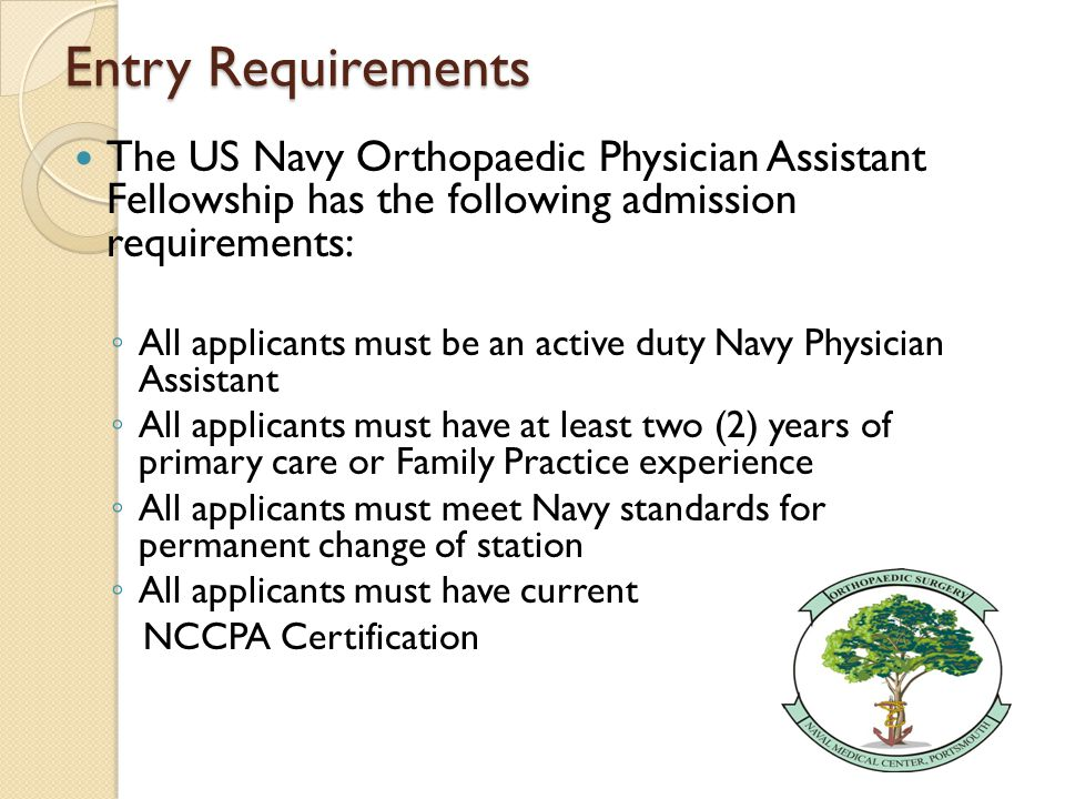 US Navy Orthopaedic Physician Assistant Fellowship LT