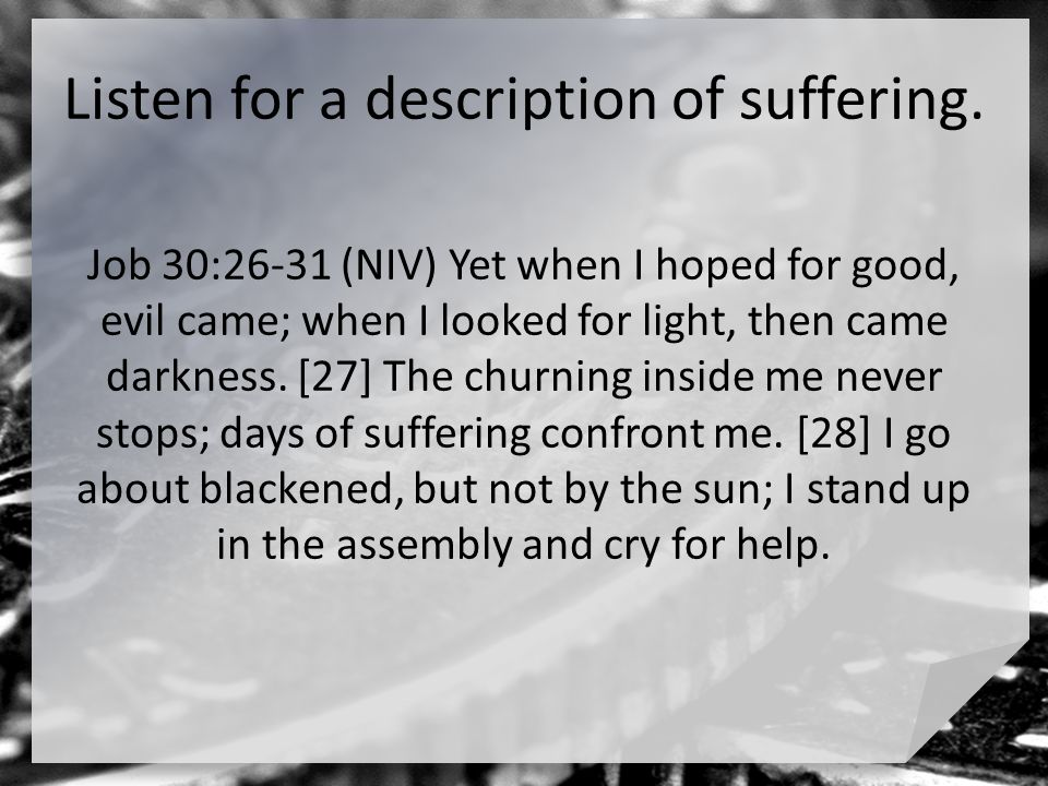 the meaning of suffering in job This four-sermon series by pastor andy cook provides a high-level, practical view of this rich and complex old testament book you can use these sermons as part of a lengthier series on job, or as a stand-alone topical series on the subjects of grief, suffering, the meaning of life, or the sovereignty of god.