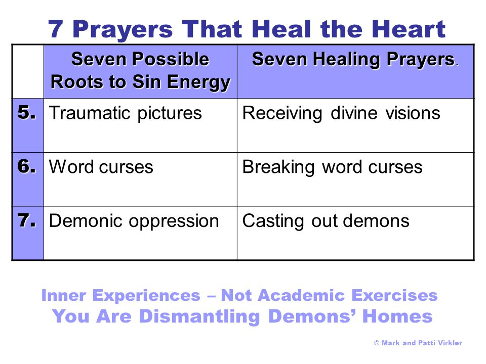 Seven Possible Roots to Sin Energy Seven Healing Prayers  1