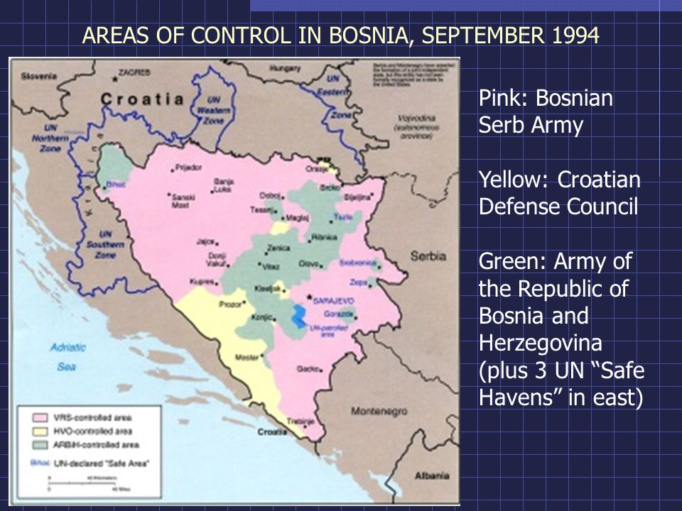 AREAS OF CONTROL IN BOSNIA, SEPTEMBER 1994 Pink: Bosnian Serb Army Yellow: Croatian Defense Council Green: Army of the Republic of Bosnia and Herzegovina (plus 3 UN Safe Havens in east)