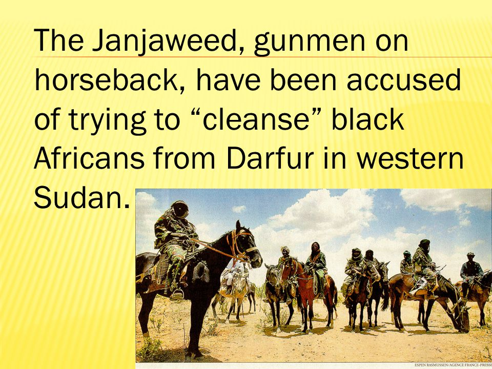 The Janjaweed, gunmen on horseback, have been accused of trying to cleanse black Africans from Darfur in western Sudan.