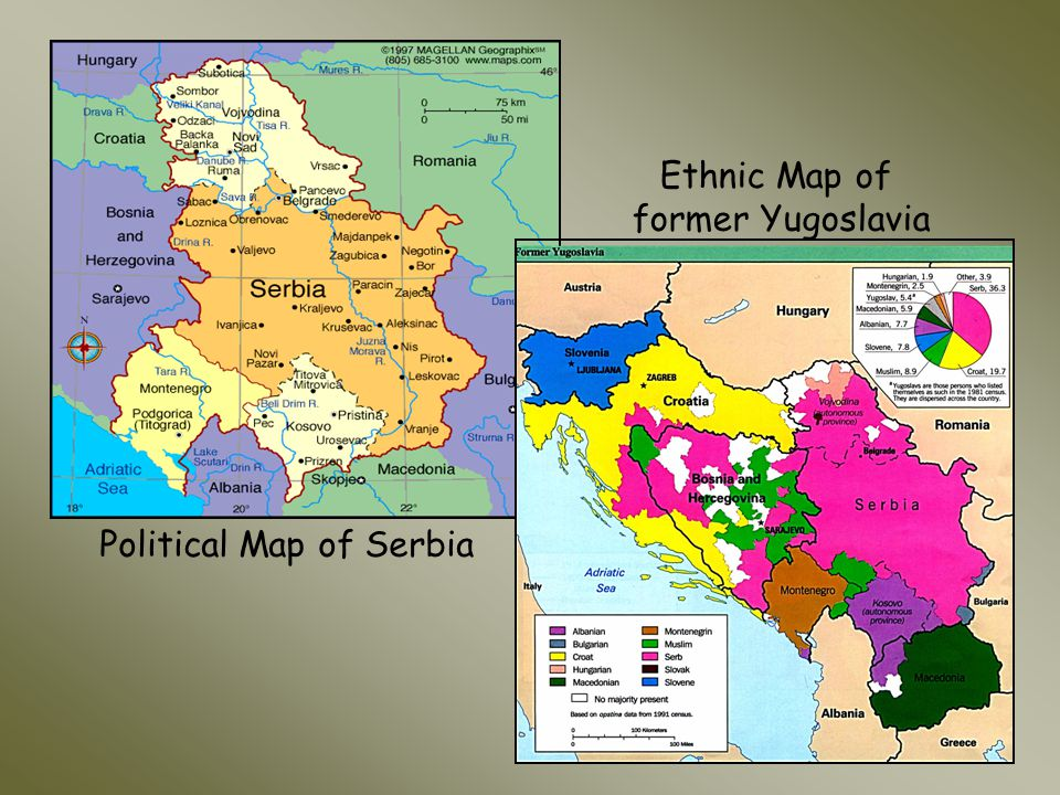 Political Map of Serbia Ethnic Map of former Yugoslavia