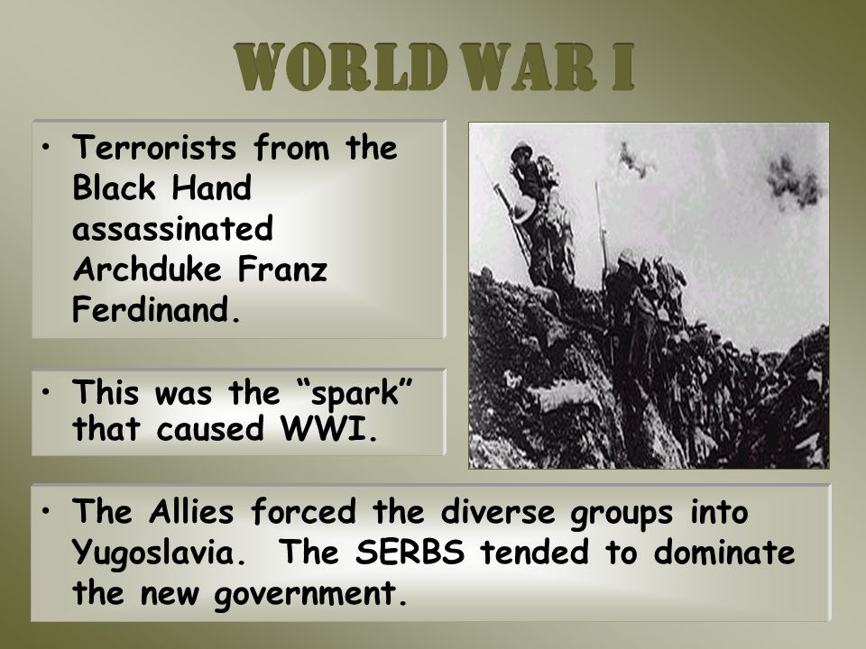 Terrorists from the Black Hand assassinated Archduke Franz Ferdinand.
