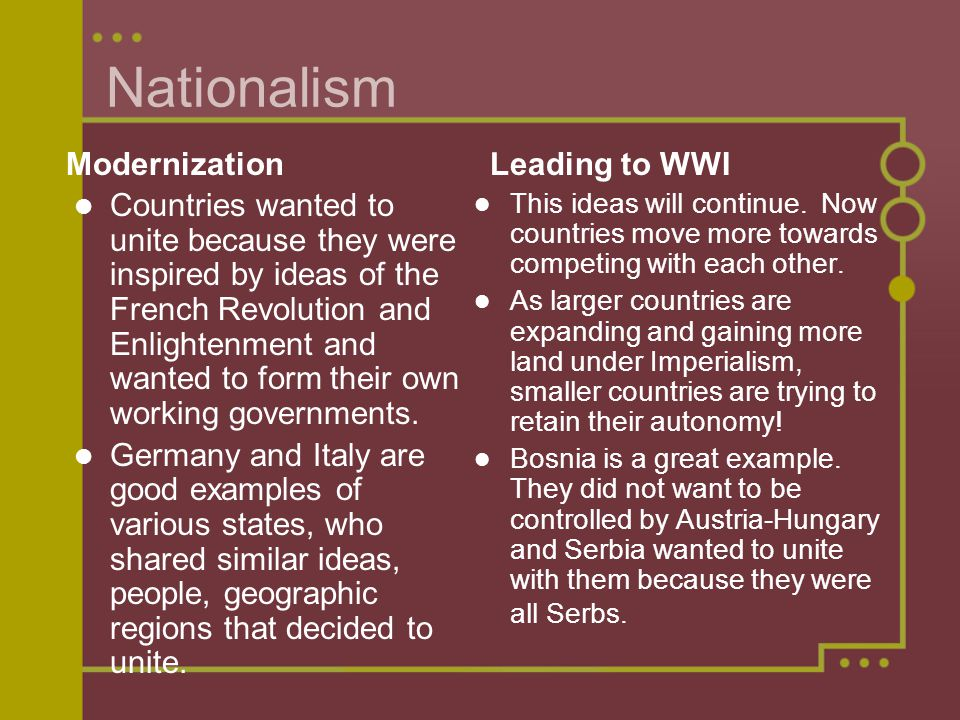 europe before wwi. 4 main causes of wwi nationalism - rise of new