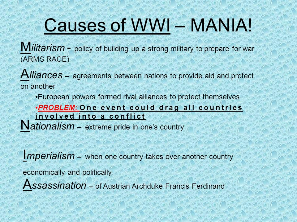 Causes of WWI – MANIA.