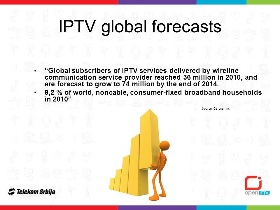 Global subscribers of IPTV services delivered by wireline communication service provider reached 36 million in 2010, and are forecast to grow to 74 million by the end of 2014.