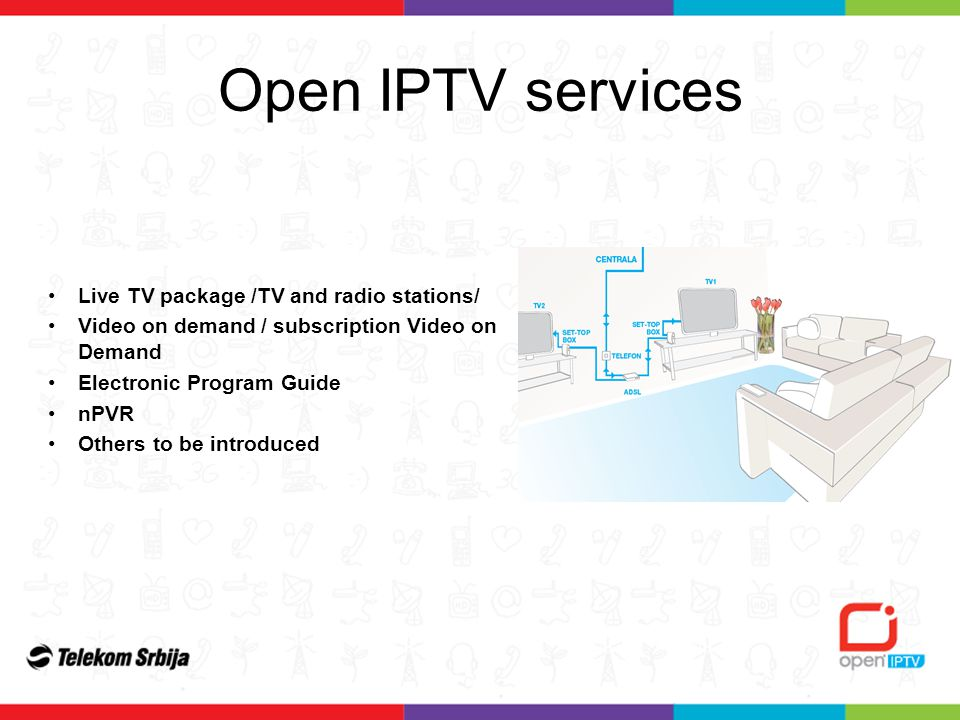 Open IPTV services Live TV package /TV and radio stations/ Video on demand / subscription Video on Demand Electronic Program Guide nPVR Others to be introduced