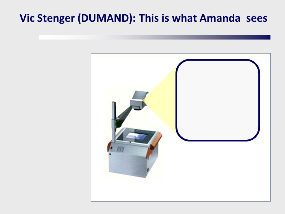 Vic Stenger (DUMAND): This is what Amanda sees