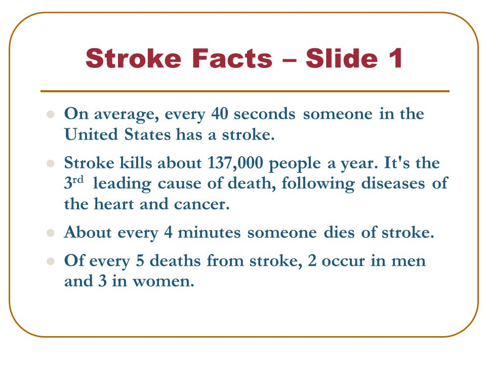 Stroke Facts – Slide 1 On average, every 40 seconds someone in the United States has a stroke.