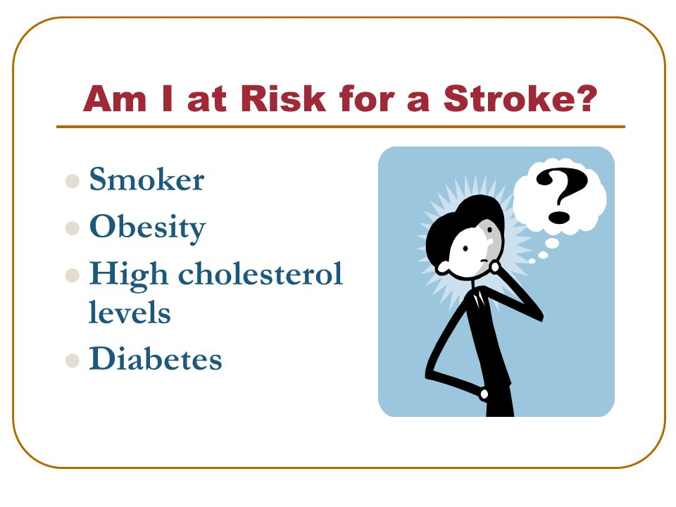 Am I at Risk for a Stroke Smoker Obesity High cholesterol levels Diabetes