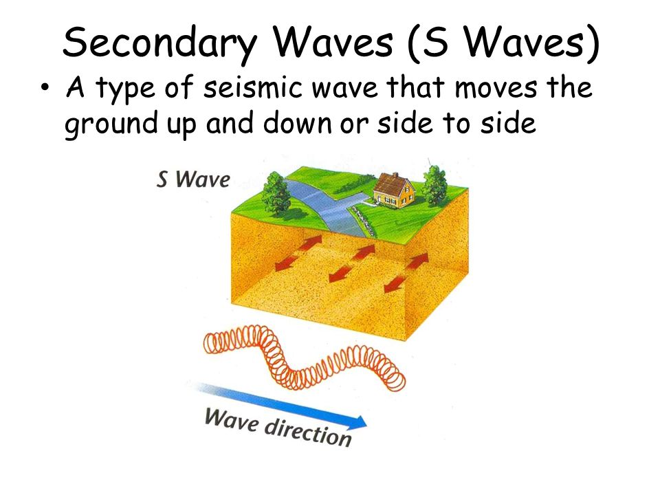 Secondary Waves (S Waves) A type of seismic wave that moves the ground up and down or side to side