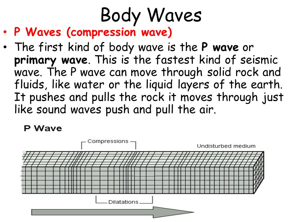 Body Waves P Waves (compression wave) The first kind of body wave is the P wave or primary wave.