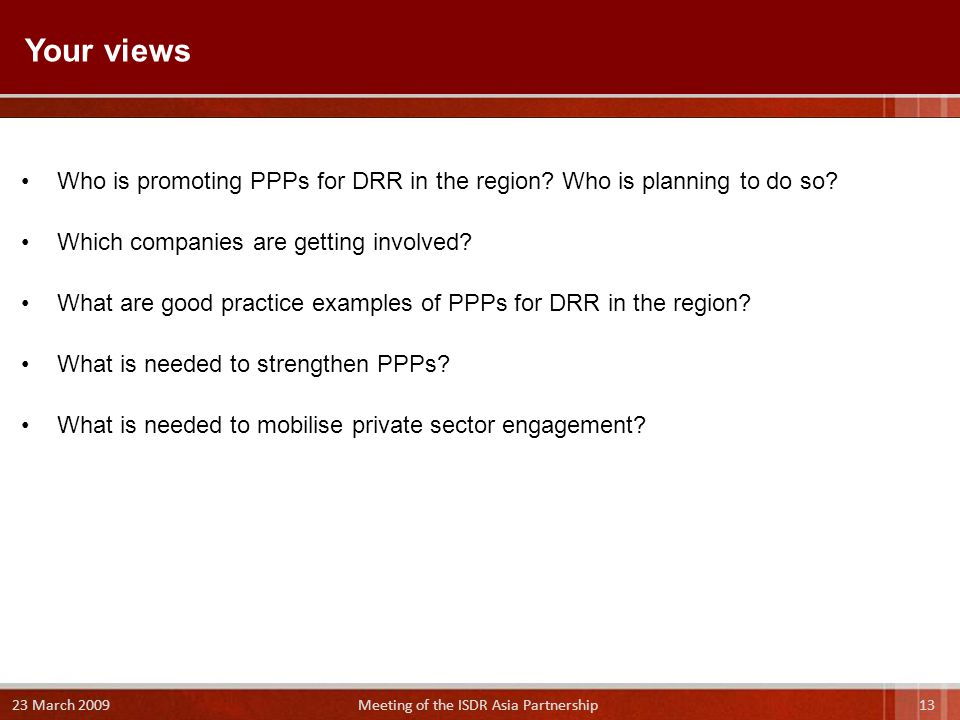 Who is promoting PPPs for DRR in the region. Who is planning to do so.