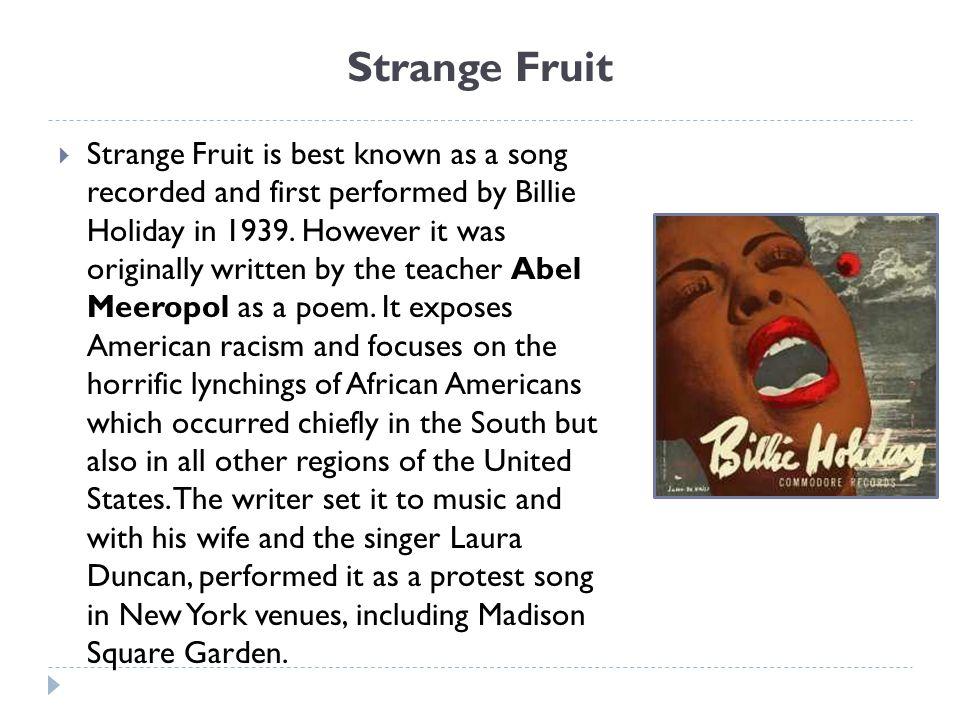 strange fruit abel meeropol analysis