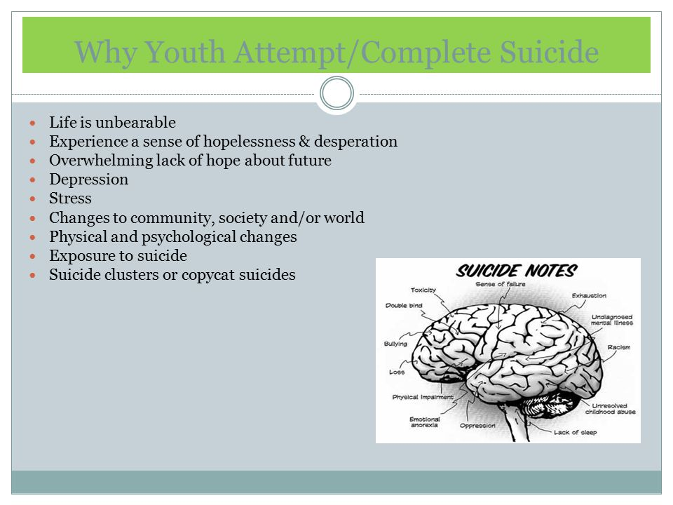 Why Youth Attempt/Complete Suicide Life is unbearable Experience a sense of hopelessness & desperation Overwhelming lack of hope about future Depression Stress Changes to community, society and/or world Physical and psychological changes Exposure to suicide Suicide clusters or copycat suicides