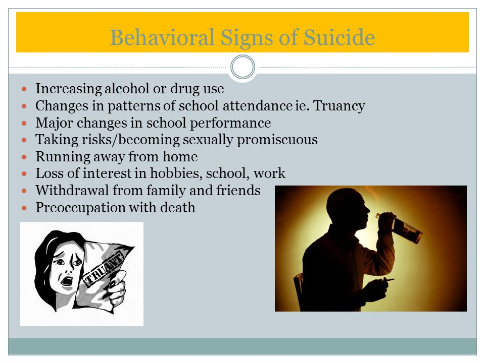 Behavioral Signs of Suicide Increasing alcohol or drug use Changes in patterns of school attendance ie.