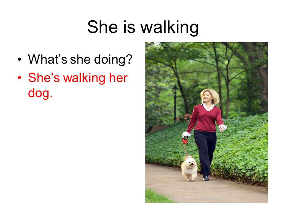 She is walking What's she doing She's walking her dog.