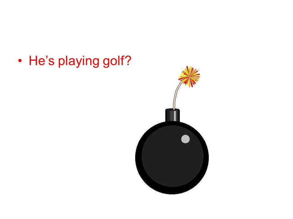 He's playing golf
