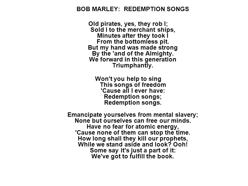 bob marley redemption song live