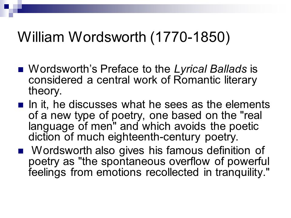 william wordsworth preface