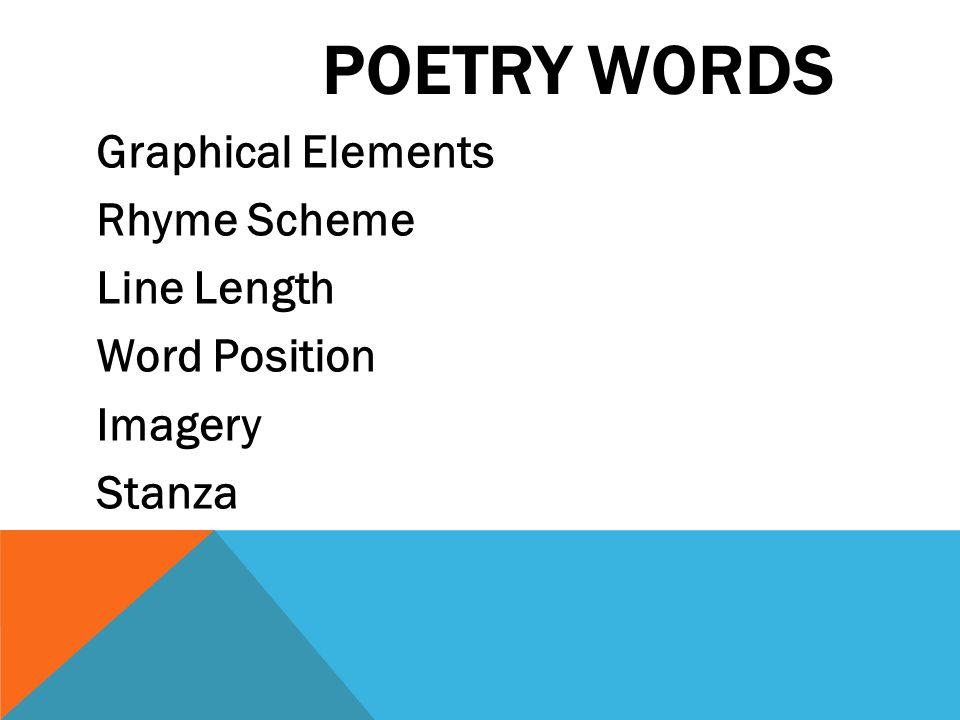 POETRY WORDS Graphical Elements Rhyme Scheme Line Length Word Position Imagery Stanza