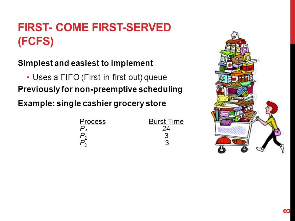 FIRST- COME FIRST-SERVED (FCFS) Simplest and easiest to implement Uses a FIFO (First-in-first-out) queue Previously for non-preemptive scheduling Example: single cashier grocery store 8 ProcessBurst Time P 1 24 P 2 3 P 3 3
