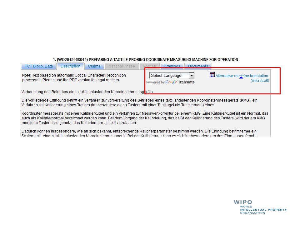 PATENTSCOPE Analysis and translation tools September 2014 Sandrine ...