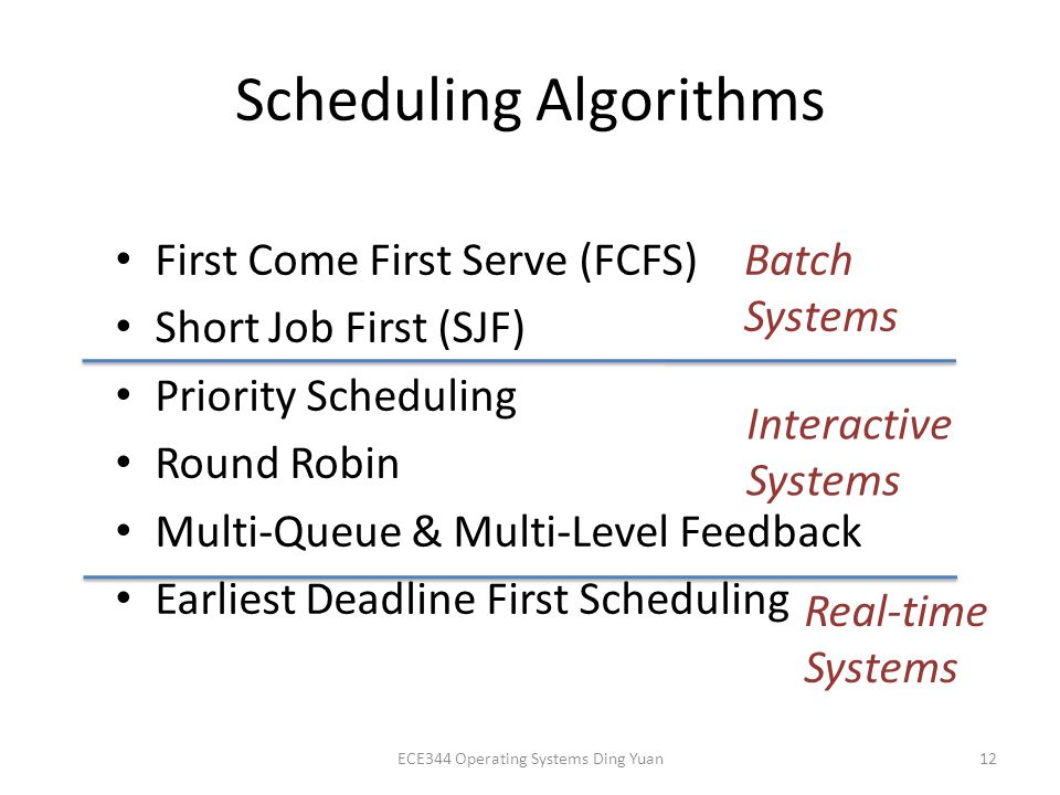 Scheduling Algorithms First Come First Serve (FCFS) Short Job First (SJF) Priority Scheduling Round Robin Multi-Queue & Multi-Level Feedback Earliest Deadline First Scheduling ECE344 Operating Systems Ding Yuan12 Batch Systems Interactive Systems Real-time Systems