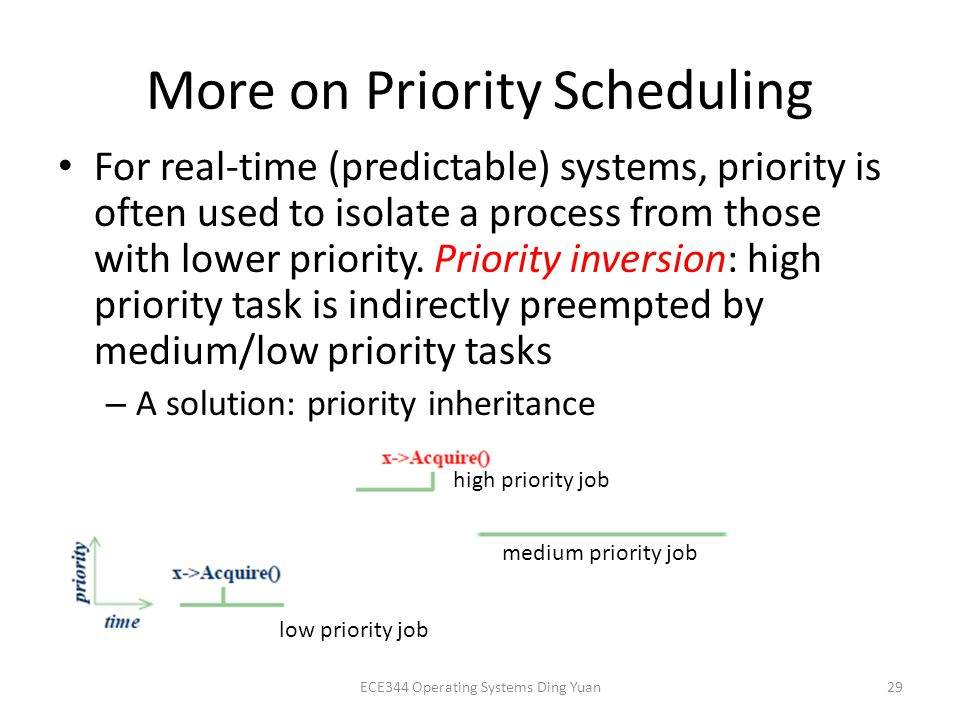 More on Priority Scheduling For real-time (predictable) systems, priority is often used to isolate a process from those with lower priority.