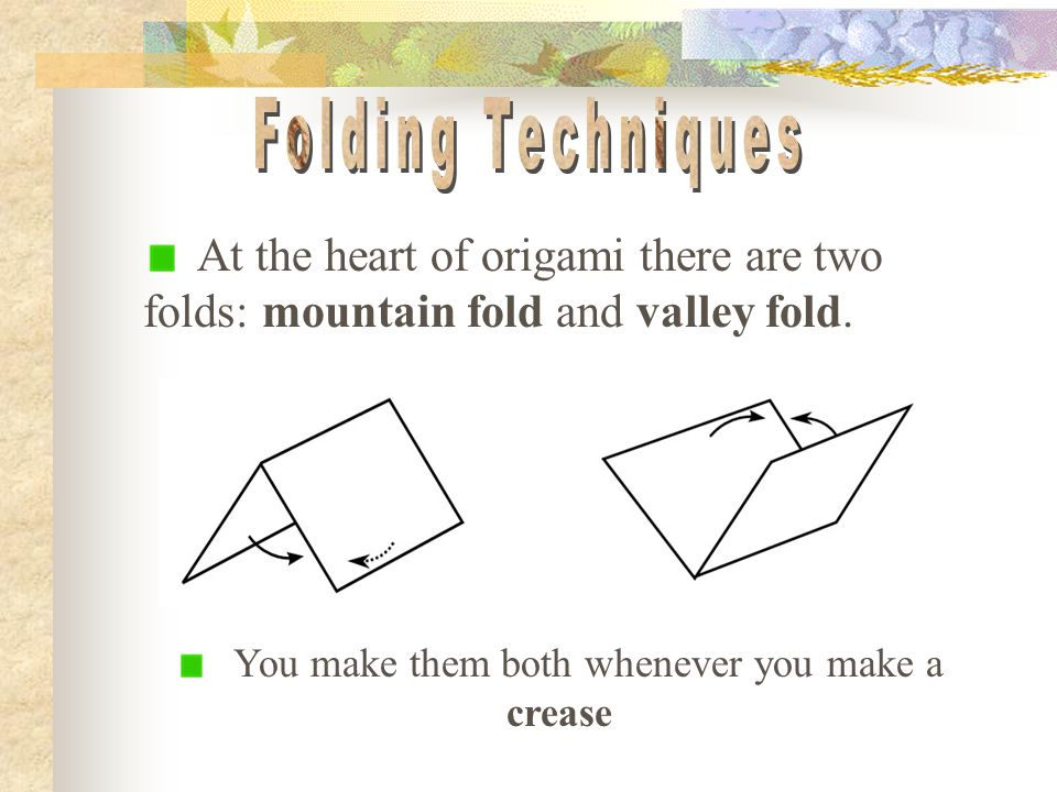 8 You Make Them Both Whenever A Crease At The Heart Of Origami There Are Two Folds Mountain Fold And Valley