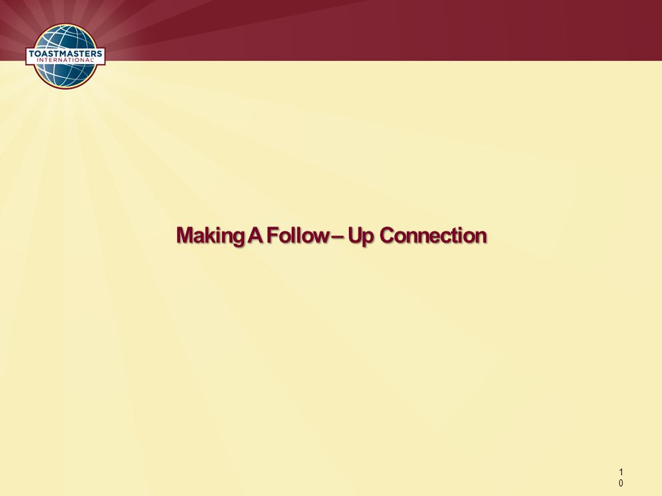 Making A Follow – Up Connection 1010