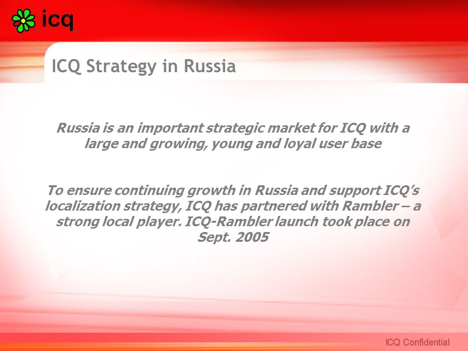 ICQ in Russia Innovative Online Advertising  Making the move