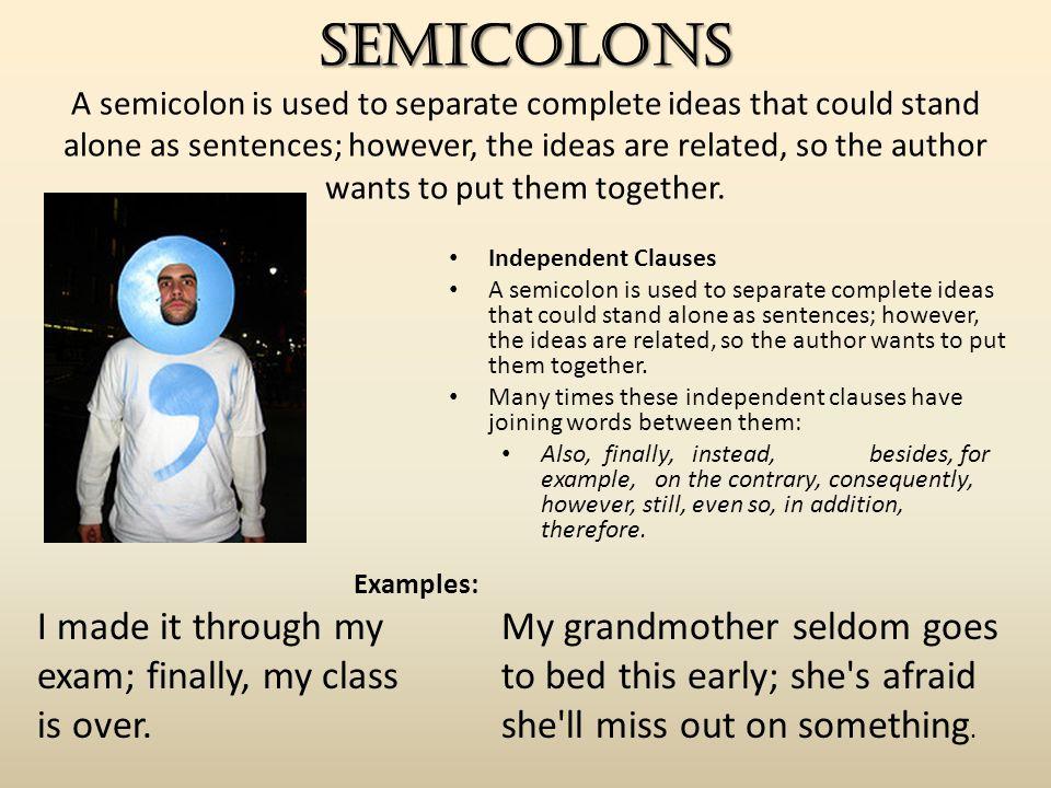 3 semicolons semicolons