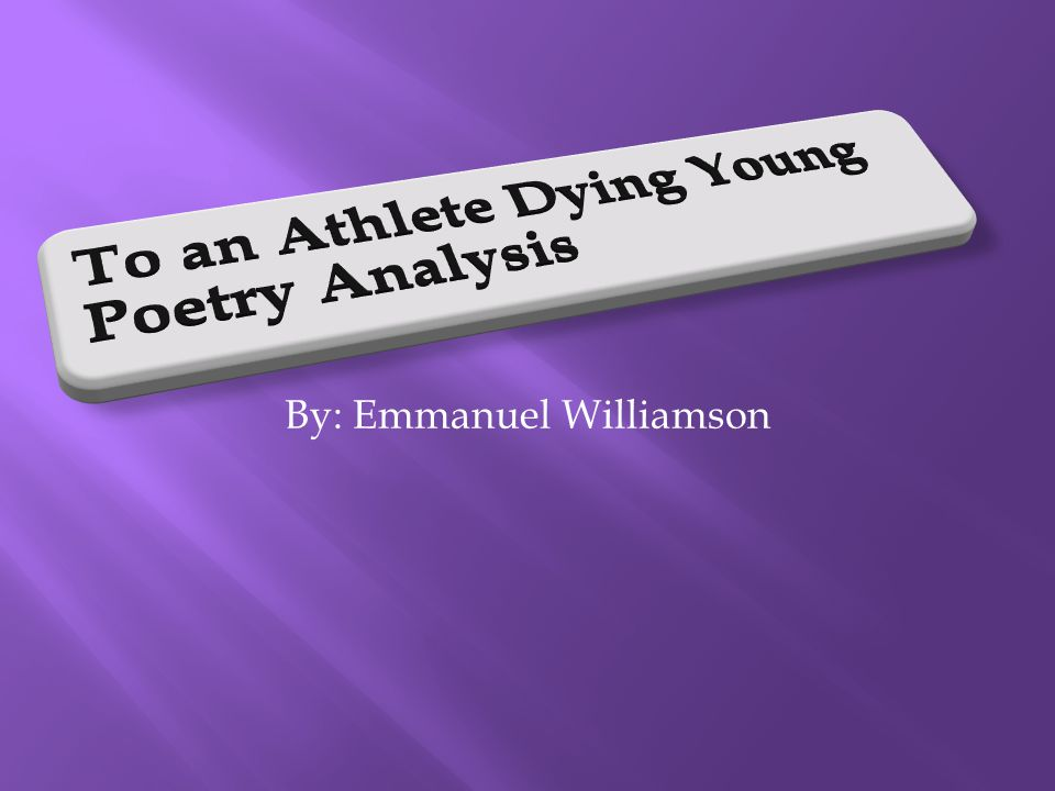 what type of poem is to an athlete dying young