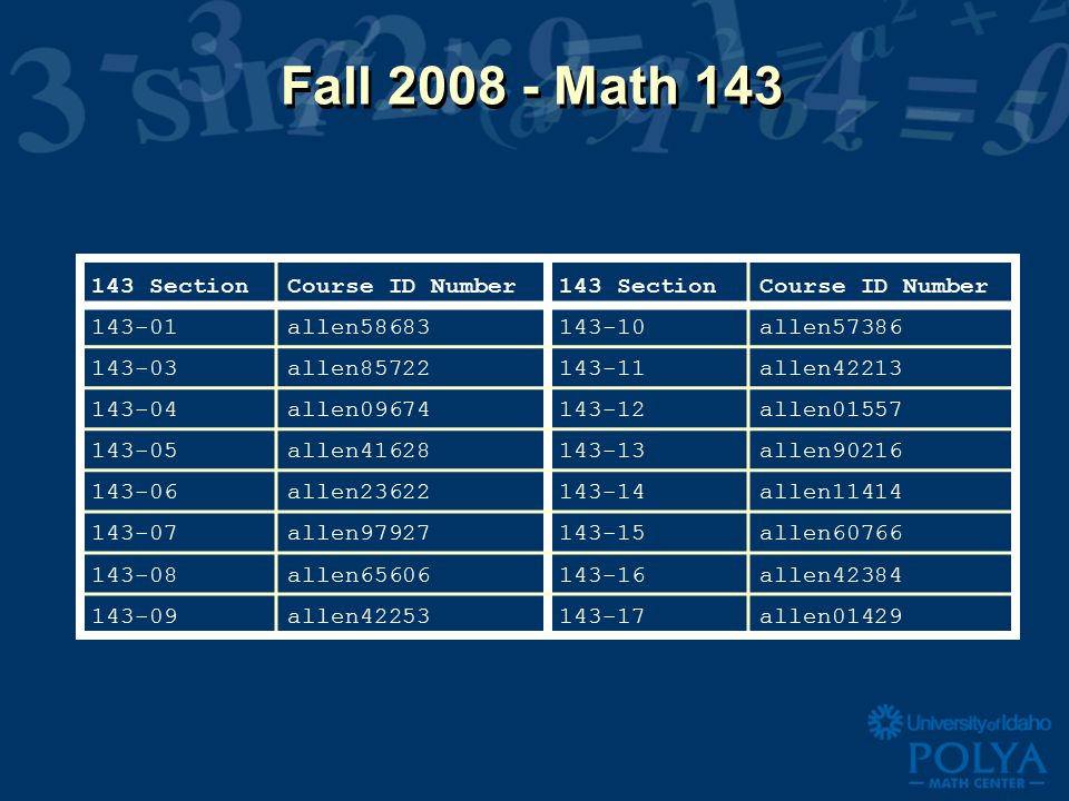 Fall Math SectionCourse ID Number143 SectionCourse ID Number allen allen allen allen allen allen allen allen allen allen allen allen allen allen allen allen01429