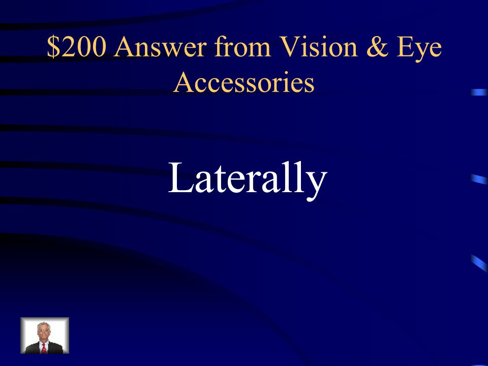 $200 Question from Vision & Eye Accessories Lacrimal glands are located ________ to the eyeball.