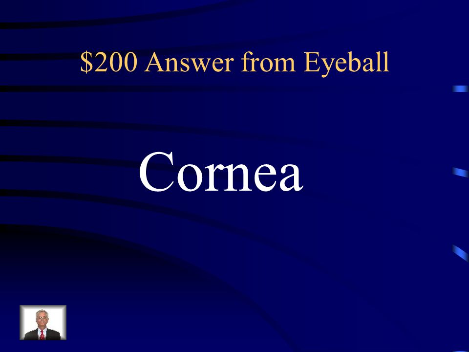 $200 Question from Eyeball The transparent central anterior Portion of the sclera through which Light enters the eye is called the______.
