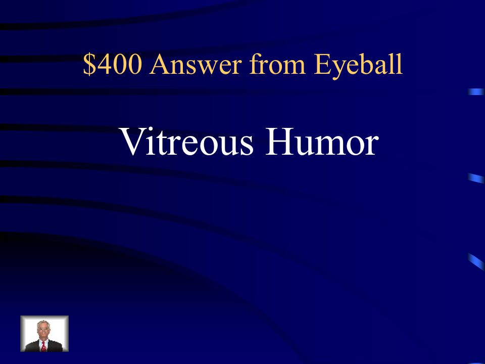 $400 Question from Eyeball The gel-like substance that reinforces The eyeball and prevents it from Collapsing inward is the: