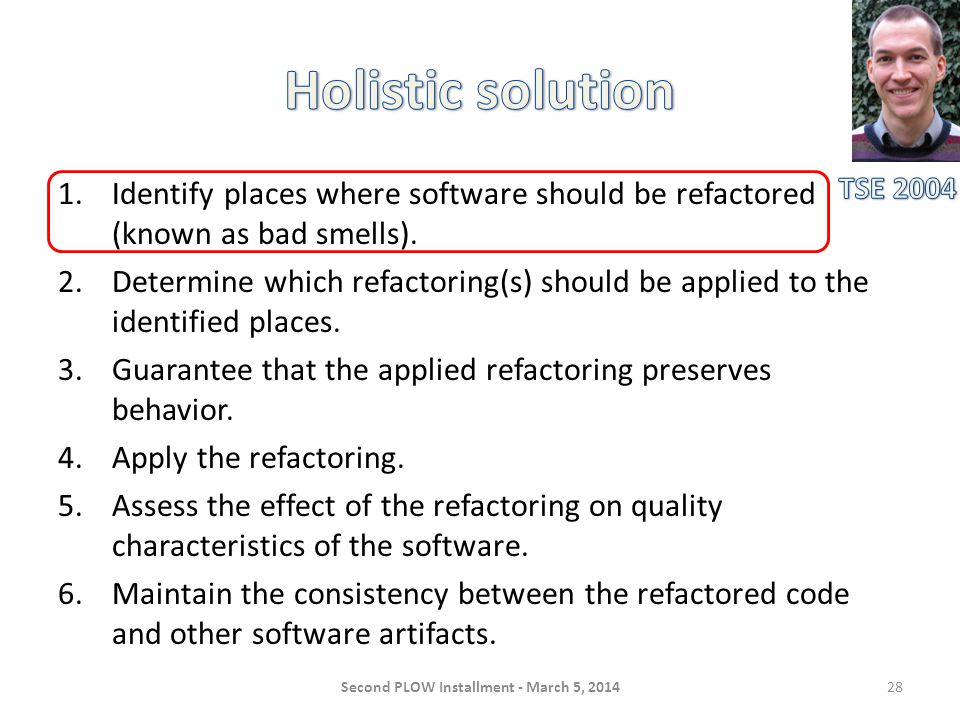 1.Identify places where software should be refactored (known as bad smells).