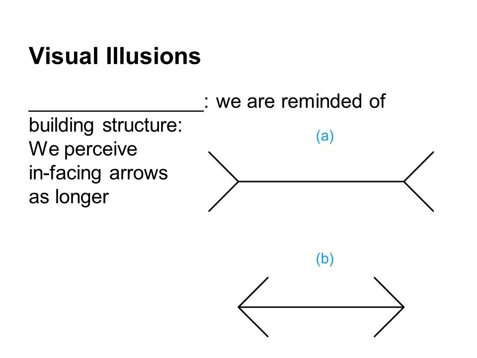 Visual Illusions ________________: we are reminded of building structure: We perceive in-facing arrows as longer