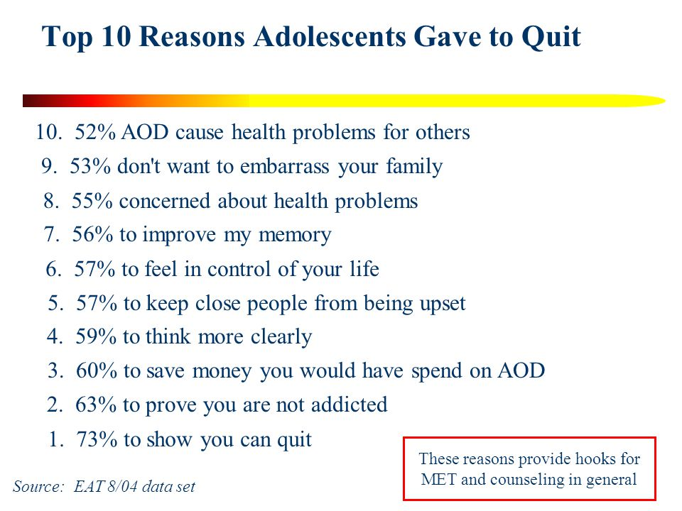 Top 10 Reasons Adolescents Gave to Quit 1. 73% to show you can quit 10.
