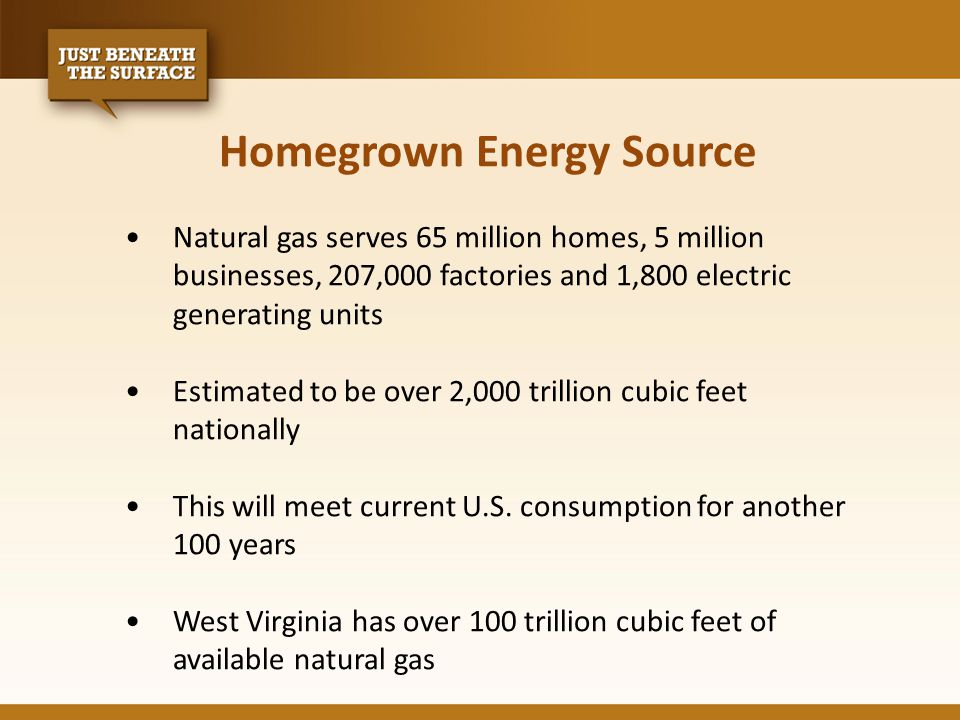 Homegrown Energy Source Natural gas serves 65 million homes, 5 million businesses, 207,000 factories and 1,800 electric generating units Estimated to be over 2,000 trillion cubic feet nationally This will meet current U.S.