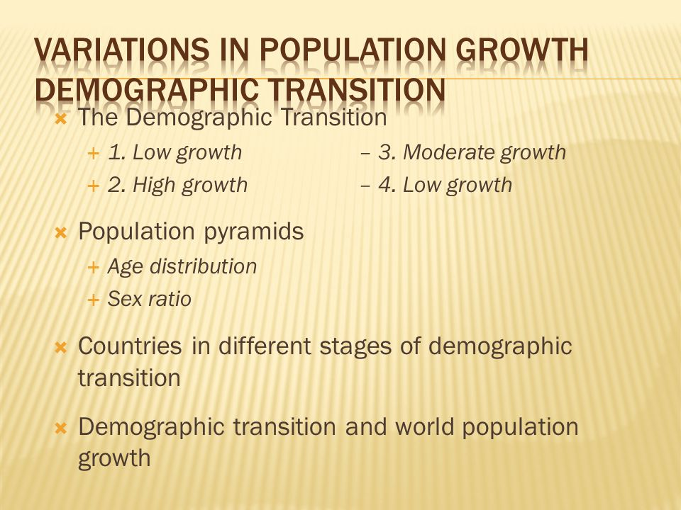  The Demographic Transition  1. Low growth– 3. Moderate growth  2.