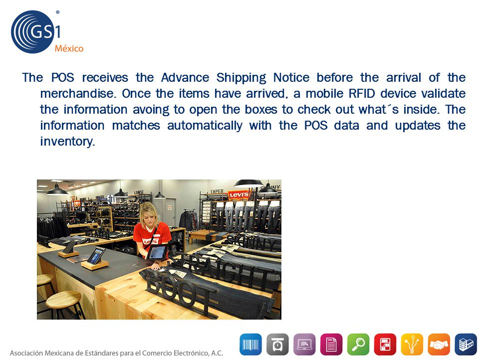 The POS receives the Advance Shipping Notice before the arrival of the merchandise.