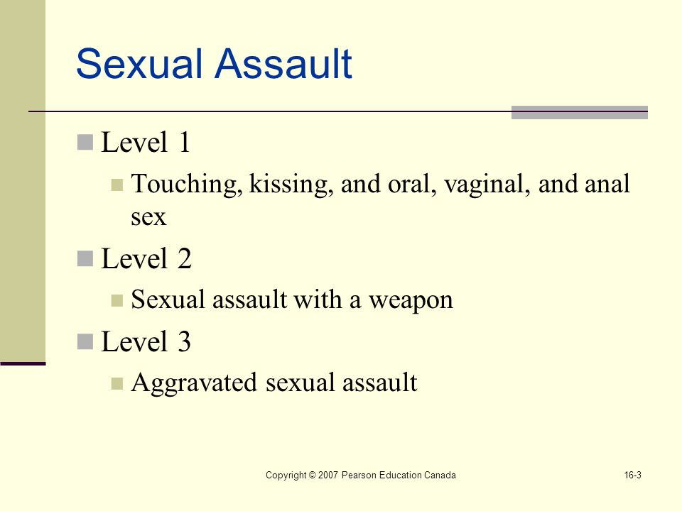 Copyright © 2007 Pearson Education Canada16-3 Sexual Assault Level 1 Touching, kissing, and oral, vaginal, and anal sex Level 2 Sexual assault with a weapon Level 3 Aggravated sexual assault