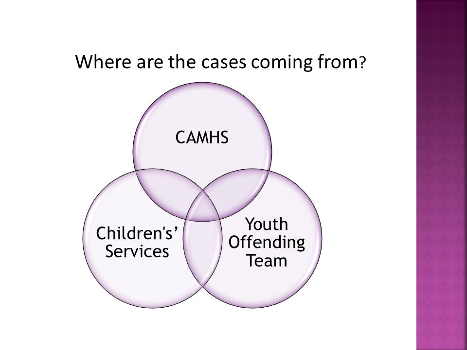 CAMHS Youth Offending Team Children s' Services Where are the cases coming from