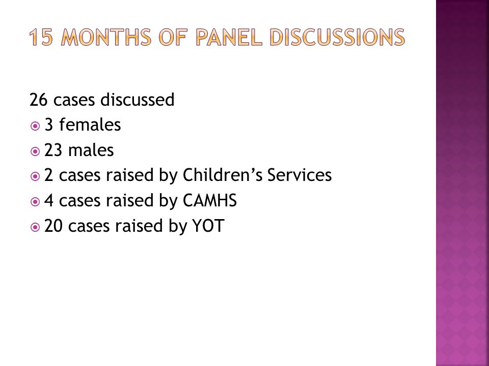 26 cases discussed  3 females  23 males  2 cases raised by Children's Services  4 cases raised by CAMHS  20 cases raised by YOT