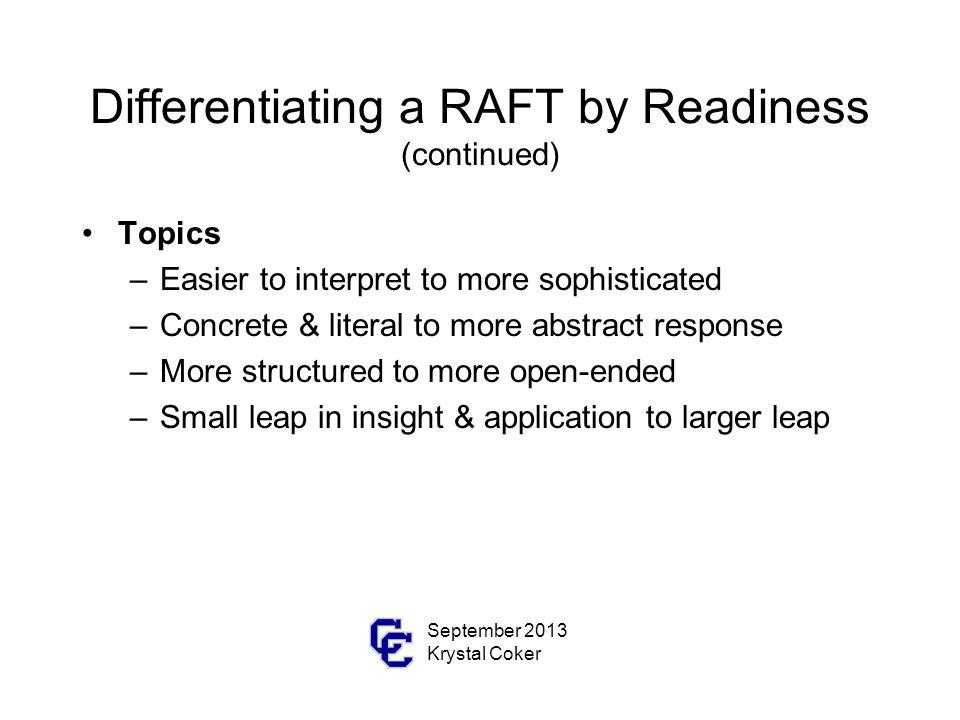 Rafts For Differentiating September 2013 Krystal Coker Ppt Download